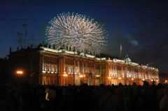 St Petersburg fireworks over Winter Palace